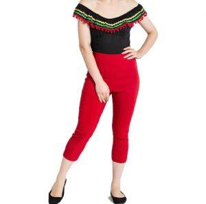 Rockabilly Clothing Australia Retro 50s Style Capri Pants - Red