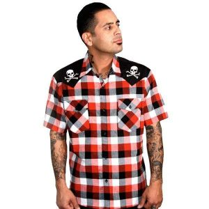 Alternative Plus Size Clothing-Steady Clothing Chaos Check Retro Western Style Shirt
