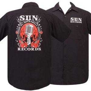 Alternative Plus Size Clothing-Sun Records Logo Retro Rockabilly Music Work Shirt
