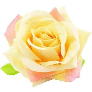 Velvet Rose Flower Hair Clip Brooch - Yellow
