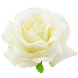 White Velvet Rose Flower Hair Brooch
