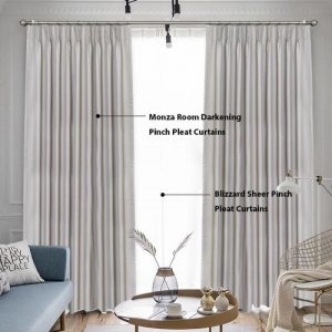 Curtains in Australia Blizzard Sheer Pinch Pleat Curtains