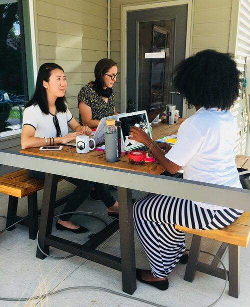 Picnic table women at work.jpg