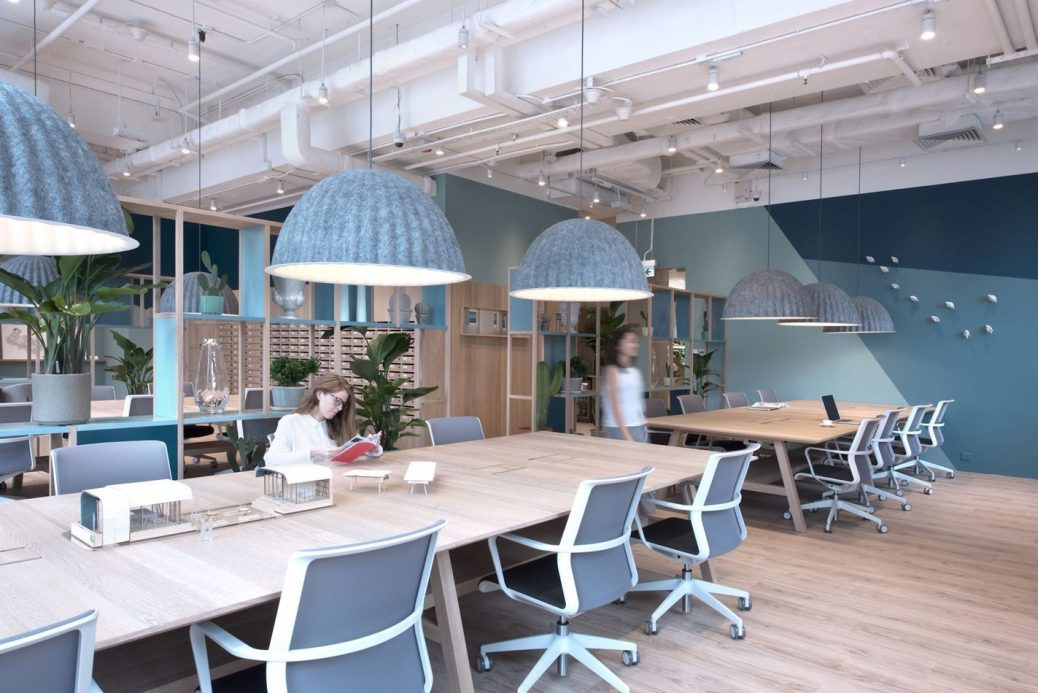 The Work Project. Open Plan. Hotdesking. Collaboration. Muuto Under the  Bell Pendant lamp. Woo… | Industrial office design, Coworking office,  Office interior design