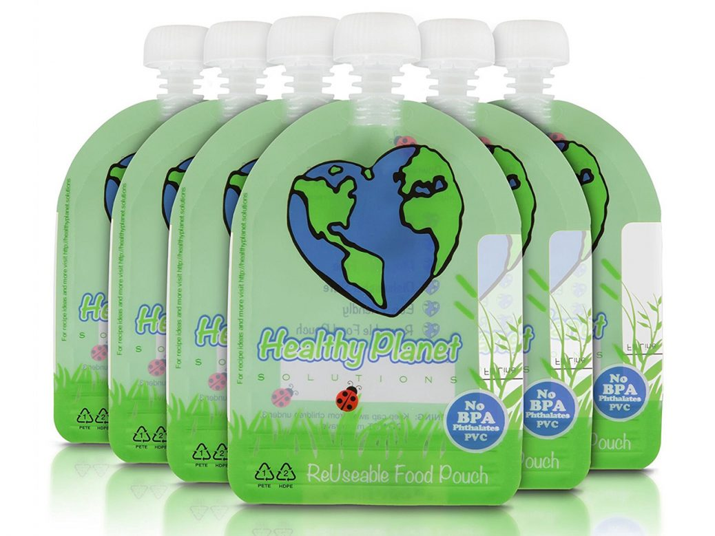 Healthy Planet Solutions Reusable Food Pouches (or similar brands)