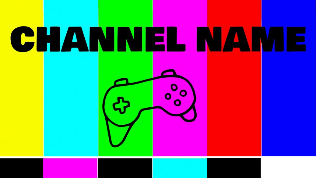Colorful Youtuber banner template displaying a channel name