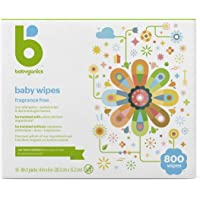 Baby Wipes, Babyganics Unscented Diaper Wipes, 800 Count, (10 Packs of 80), Non-Allergenic and formulated with Plant…